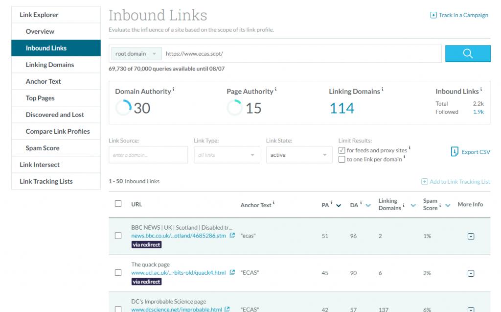 Screenshot of Moz's Link Explorer