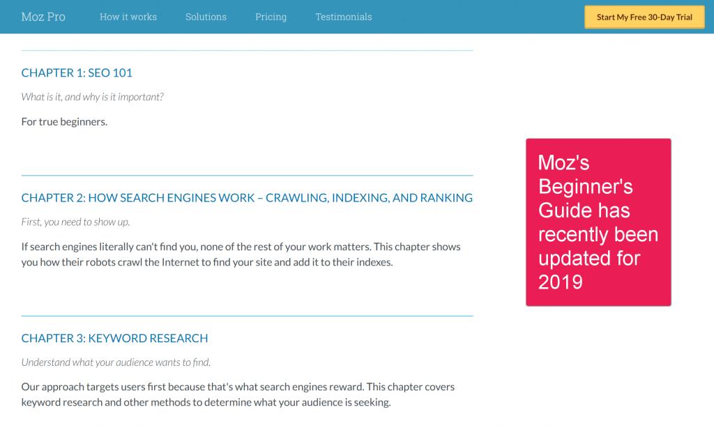 Screenshot of Moz's Beginners Guide to SEO
