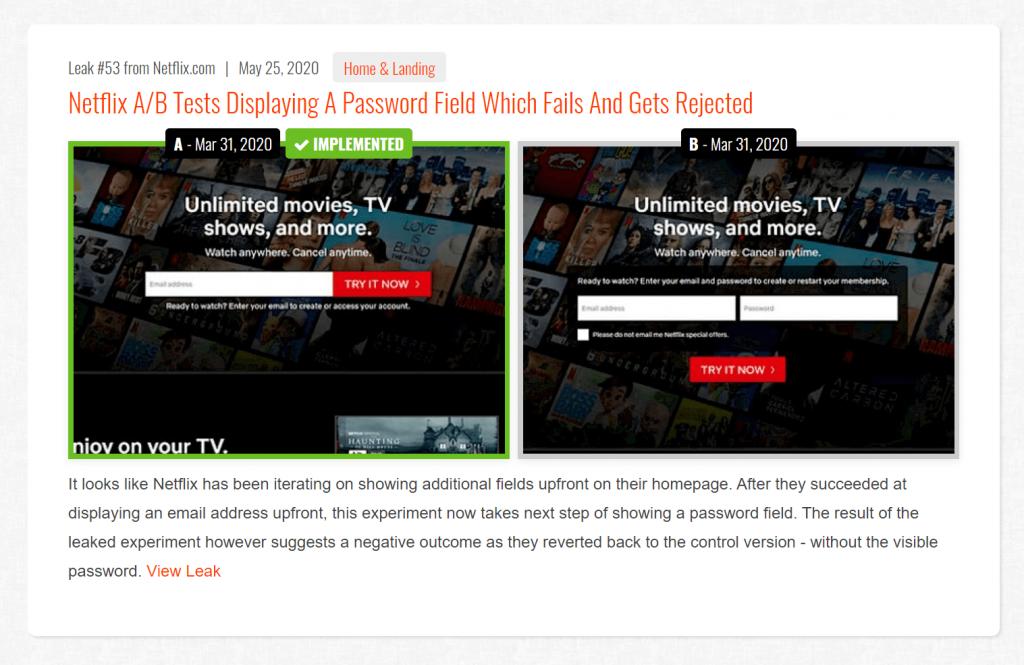 Screenshot showing an A/B test discovered on netflix.com