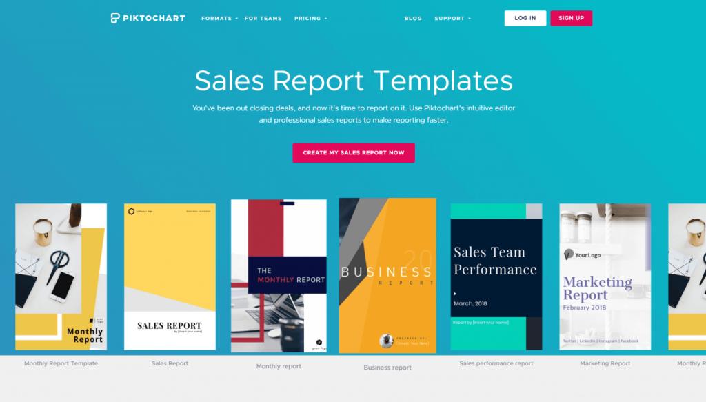 Piktochart sales report page screenshot
