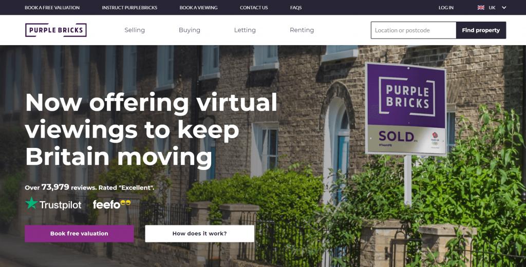 Screenshot of the Purple Bricks website about the fold