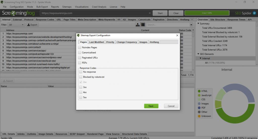 Example of Screaming Frog's Sitemap menu