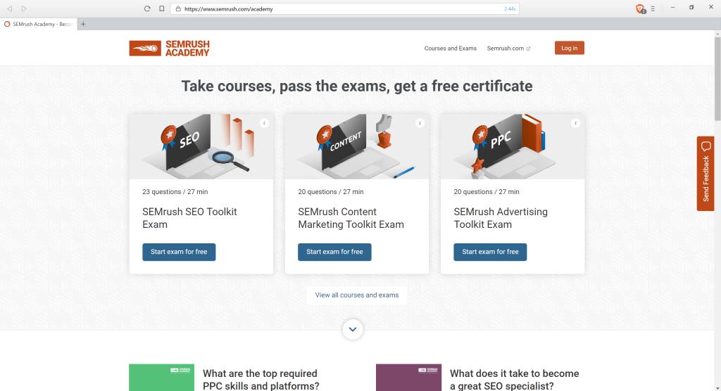 Screenshot of SEMrush's Academy