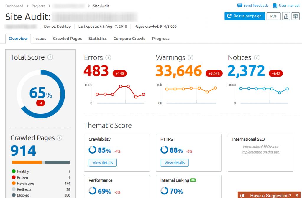 Example of SEMrush's Site Audit tool