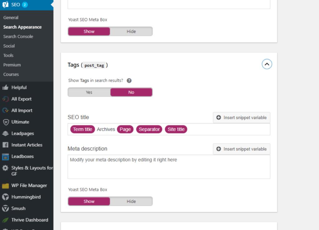 Screenshot of Yoast Archive Options Menu