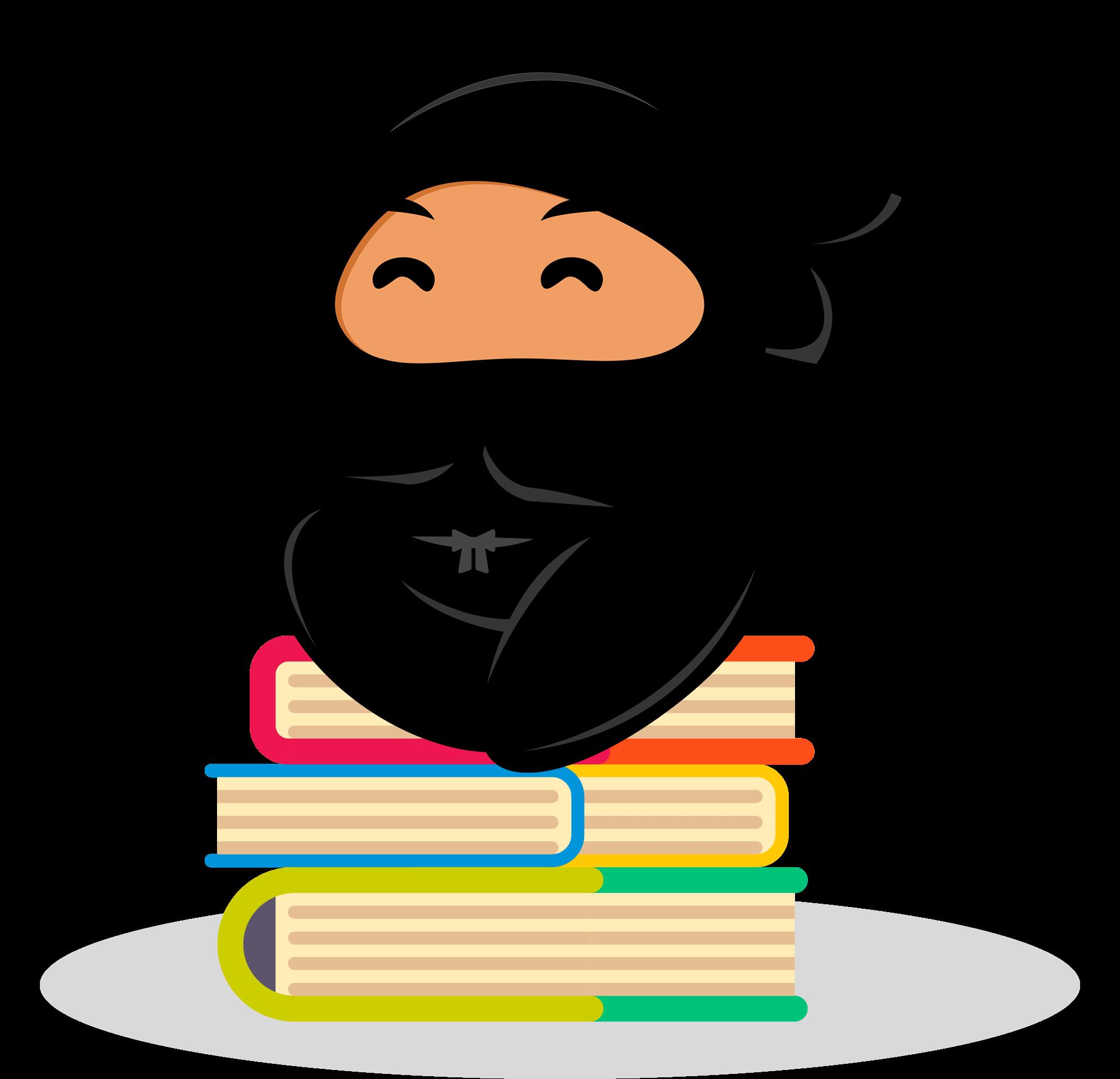 Shinobi sitting on books