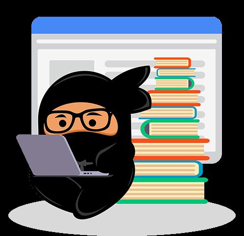 Shinobi reading content on laptop