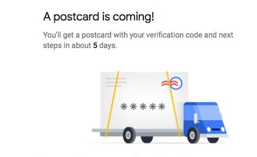 postcard verification for google my business