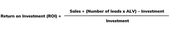 Marketing ROI formula with ALV