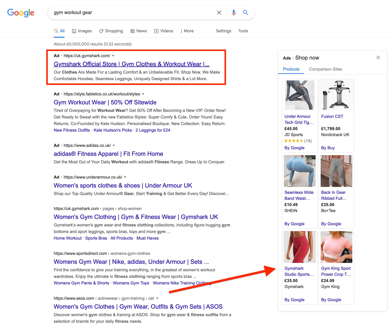 Gymshark Google Ads