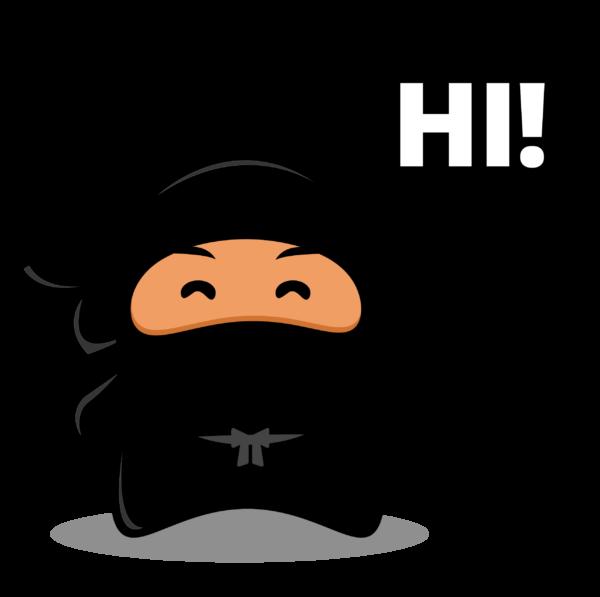 "Graphic of a ninja saying ""Hi"""