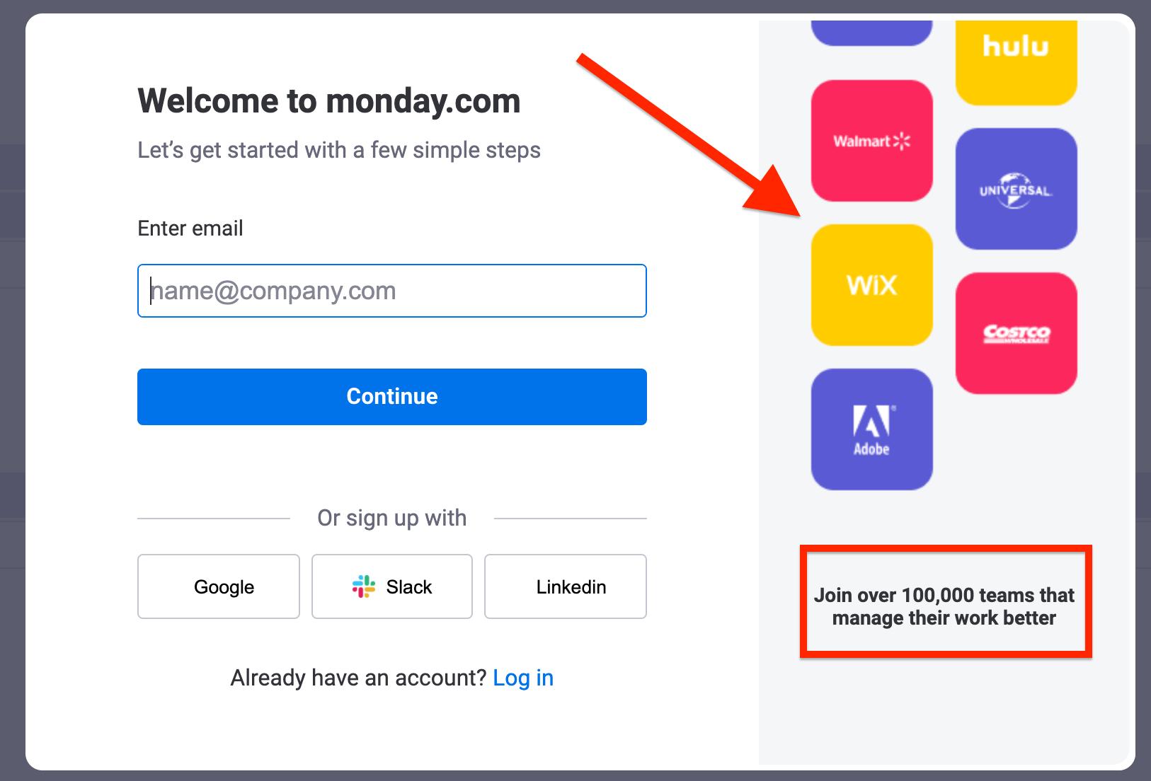 Screenshot of Monday.com sign-up form.