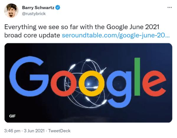 Screenshot of a Barry Schwartz tweet about Google's June 2021 broad core update
