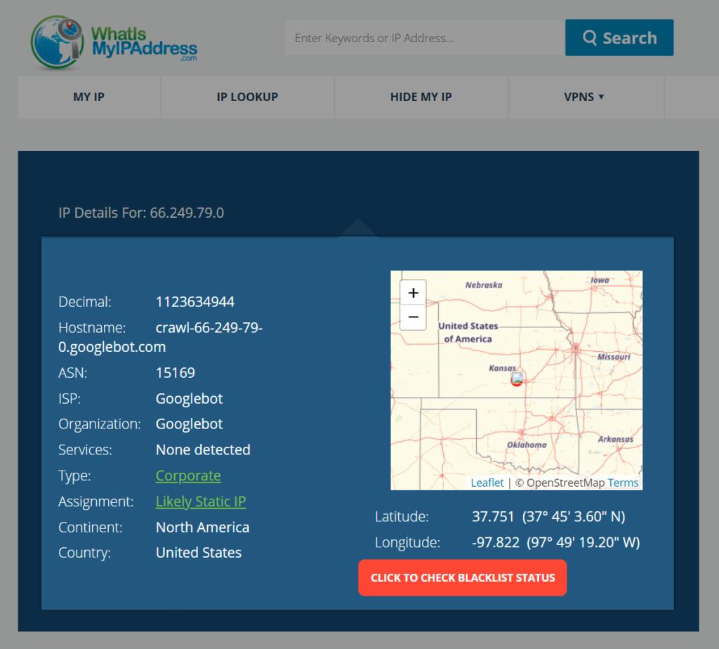 Screenshot of Googlebot's IP location