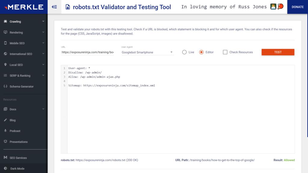 Screenshot of Merkle's robots.txt validator and testing tool